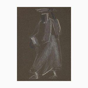Helen Vogt, Shadowy Figure, Pastel, Mid-20th Century