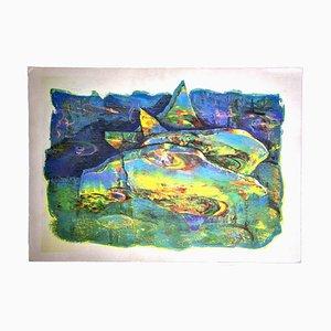 Cutolo, Abstrakte Landschaft, Lithographie, spätes 20. Jahrhundert