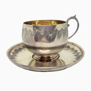 French Silver Coffee Cup and Saucer, Set of 2