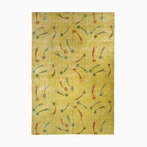 Yellow With Falling Stars Turkish Rug by Zeki Müren, 1950s