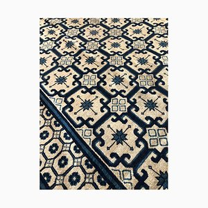 Blue and White Lotus Flower Chinese Rug, 1850s