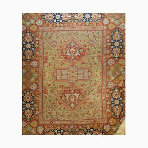 Indischer Flachgewebe Teppich in Blau & Gold, in Rosa mit goldenem Muster, 1920er