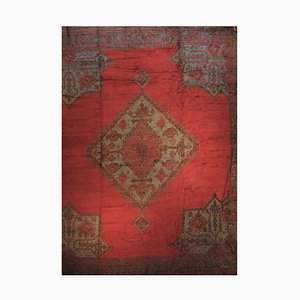 19th Century Red and Green Square Turkish Anatolian Rug