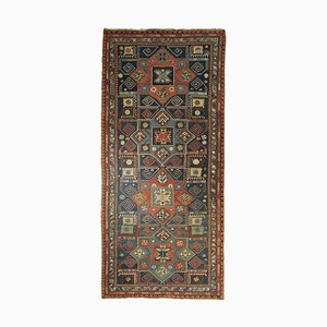 Blaugelber Roter Geometrischer Teppich, 1870er