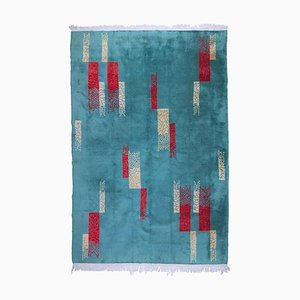 Turquoise and Red Hand Knotted Rug by Zeki Muren, 1950s