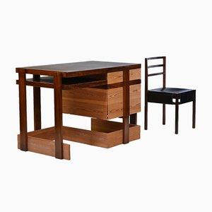 Modernistischer Bombay Palisander Schreibtisch mit Stuhl von George Sneed, 1970er, 2er Set