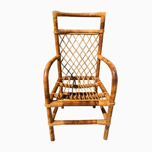Vintage Bamboo and Rattan Chair by Audoux Minet, 1950