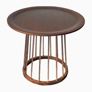 Round Vintage Teak & Copper Coffee Table