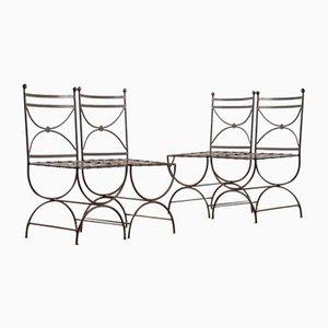 Französische Stühle aus patiniertem Eisen, 1990, 4er Set