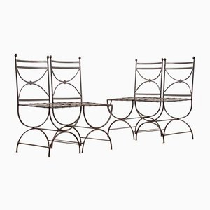 French Patinated Iron Chairs, 1990, Set of 4