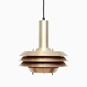 Danish Golden Brass Pendant Lamp from Lyskaer, 1970s