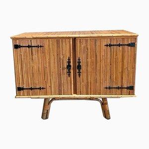 Credenza in bambù e ferro battuto di Adrien Audoux & Frida Minet, anni '50