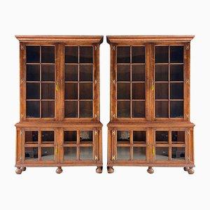 Mid-Century Antique-Style Oak Pepys Bookcases, Set of 2