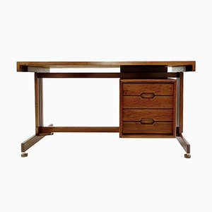 Italian Double-Sided Teak and Leather Desk, 1960s