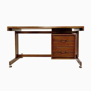 Italienischer Doppelseitiger Schreibtisch aus Teak & Leder, 1960er