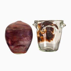 French Blown Glasswork by Jean-Claude Novaro, 1990, Set of 2