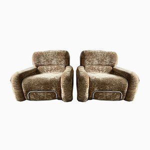 Mid-Century Modern Italian Chrome & Chenille Armchairs with Original Upholstery, Set of 2