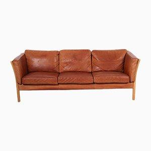 Vintage Danish Cognac-Colored Leather Sofa from Mogens Hansen