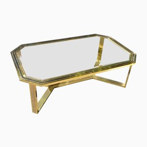 Large Italian Brass Coffee Table, 1970s