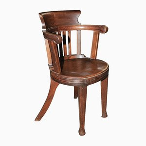 Clerk's Bow-Arm Desk Chair with Splayed Legs, Early 20th Century