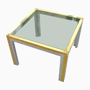 Italian Square Brass Low Table, 1960s