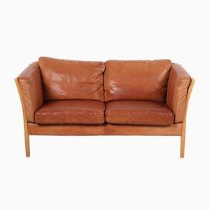 Vintage Danish Cognac Colored Leather 2-Seat Sofa by Mogens Hansen