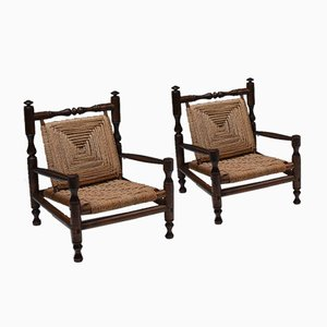 Vintage French Rustic Stained Wood & Rush Armchairs, Set of 4