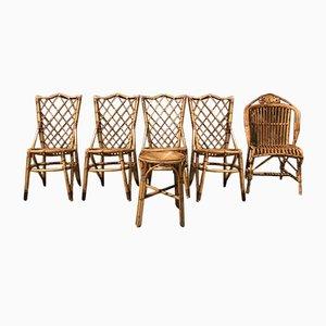 Chaises en Osier par Louis Sognot, 1960s, Set de 6