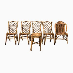 Wicker Chairs by Louis Sognot, 1960s, Set of 6