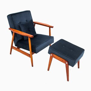 Polish Armchair & Footrest by H. Lis, 1960s, Set of 2