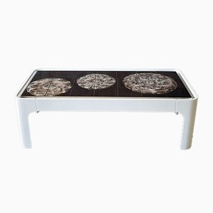 Vintage Juliette Belarti Style Wood and Ceramic Coffee Table
