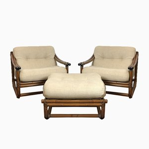 Italian Wicker Lounge Chairs and Pouf, 1960s, Set of 3