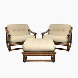 Italienische Korbstühle und Pouf, 1960er, 3er Set