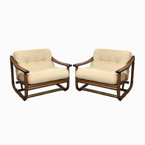 Italian Wicker Lounge Chairs and Table, 1960s, Set of 3