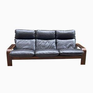 Scandinavian Wood and Leather Sofa
