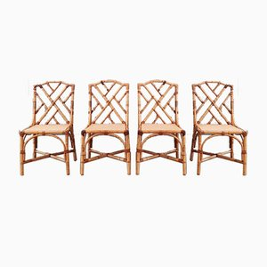 Mid-Century Rattan Dining Chairs, 1960s or 1970s, Set of 4