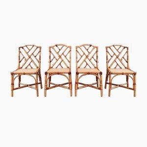 Mid-Century Rattan Esszimmerstühle, 1960er oder 1970er, Set of 4