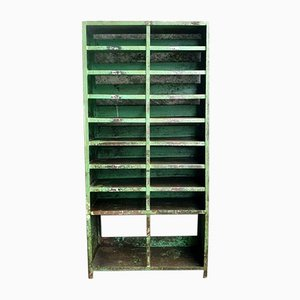 Vintage Industrial Green Compartment Cabinet or Shoe Closet