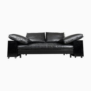Vintage Italian Black Leather & Lacquer Lota Sofa by Eileen Gray