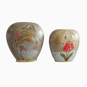 Enameled Brass Vases, Set of 2