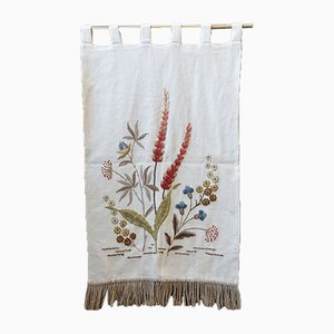 Mid-Century Beige and Floral Embroidery Tapestry