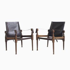 Vintage Leather Safari Chairs by Wilhelm Kienzle, Set of 2
