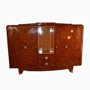 French Art Deco Burl Wood Sideboard, 1930s