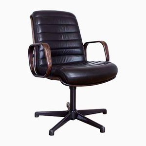 Leather and Wood Conference Chair from Stoll Giroflex, 1960s