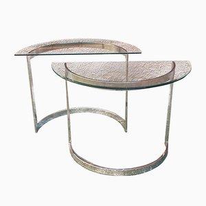 Französische Stahl Konsolentische mit Glasplatten, 1970er, 2er Set