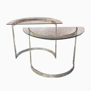 French Steel Consoles with Glass Tops, 1970s, Set of 2