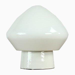 Czechoslovakian White Opaline Glass and Porcelain Sconce, 1960s