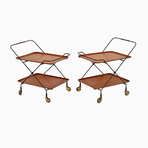 Swedish Teak Serving Trolleys, 1960s, Set of 2