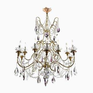 Large Antique Golden Crystal Chandelier
