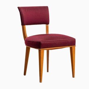 Art Deco Purple Silk Chairs by Jules Leleu, Set of 4